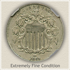 1869 Shield Nickel Extremely Fine Condition