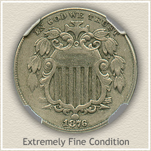 1876 Shield Nickel Extremely Fine Condition