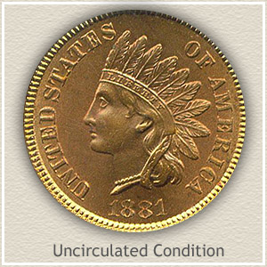 1881 Indian Head Penny Uncirculated Condition