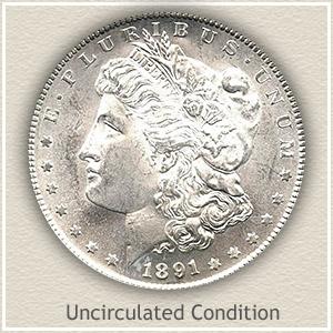 1891 Morgan Silver Dollar Uncirculated Condition