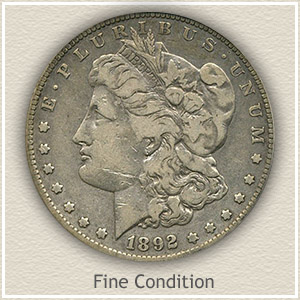1892 Morgan Silver Dollar Fine Condition