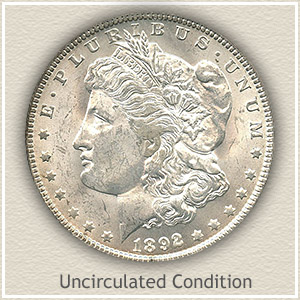 1892 Morgan Silver Dollar Uncirculated Condition