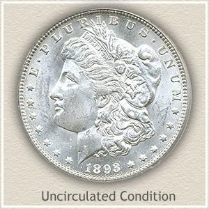 1893 Morgan Silver Dollar Uncirculated Condition
