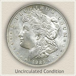 1921 Morgan Silver Dollar Uncirculated Condition