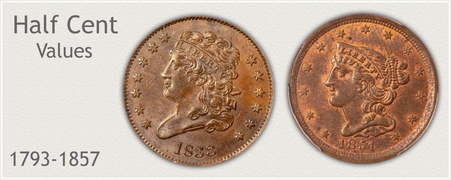 US Half Cent Values | Minted 1793-1857