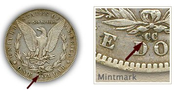 Mintmark Location 1889-CC Morgan Silver Dollar