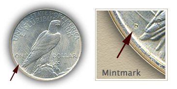 Mintmark Location 1923 Peace Silver Dollar
