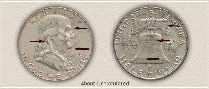 1961 Ben Franklin Silver Half Dollar Average Circulated Condition Great Price