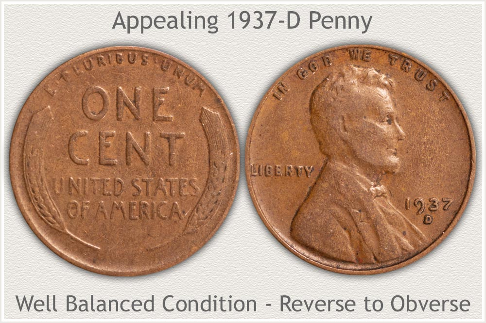 1937-D Penny Balanced Condition Obverse to Reverse