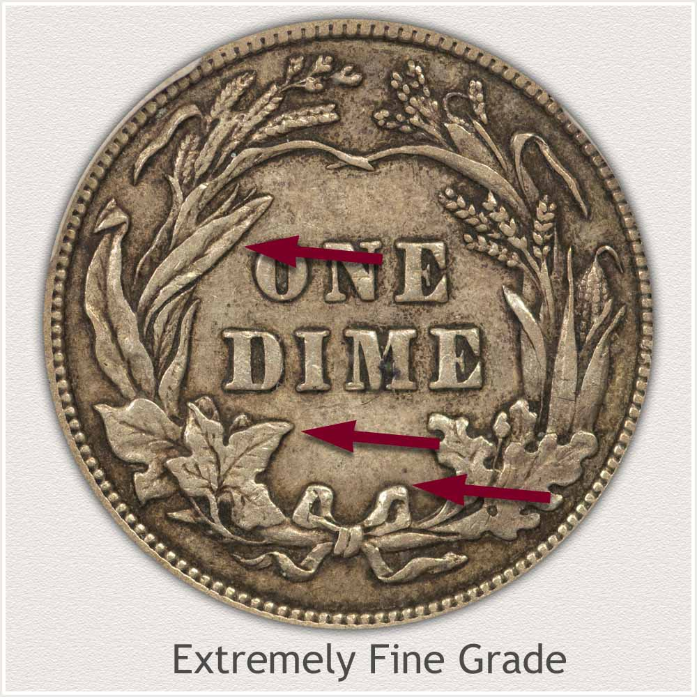 Reverse View: Extremely Fine Grade Barber Dime