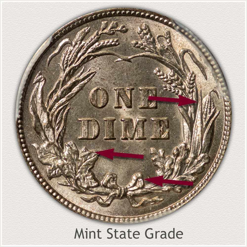 Reverse View: Mint State Grade Barber Dime