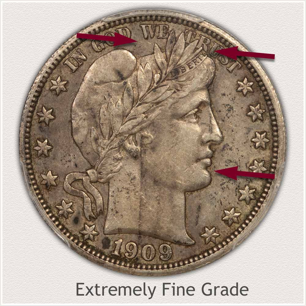 Obverse View: Extremely Fine Grade Barber Half Dollar