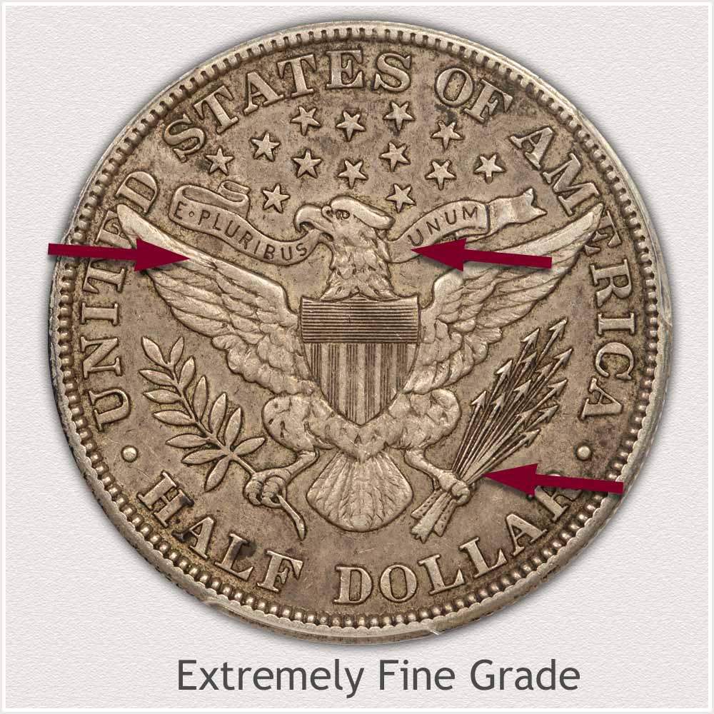 Reverse View: Extremely Fine Grade Barber Half Dollar