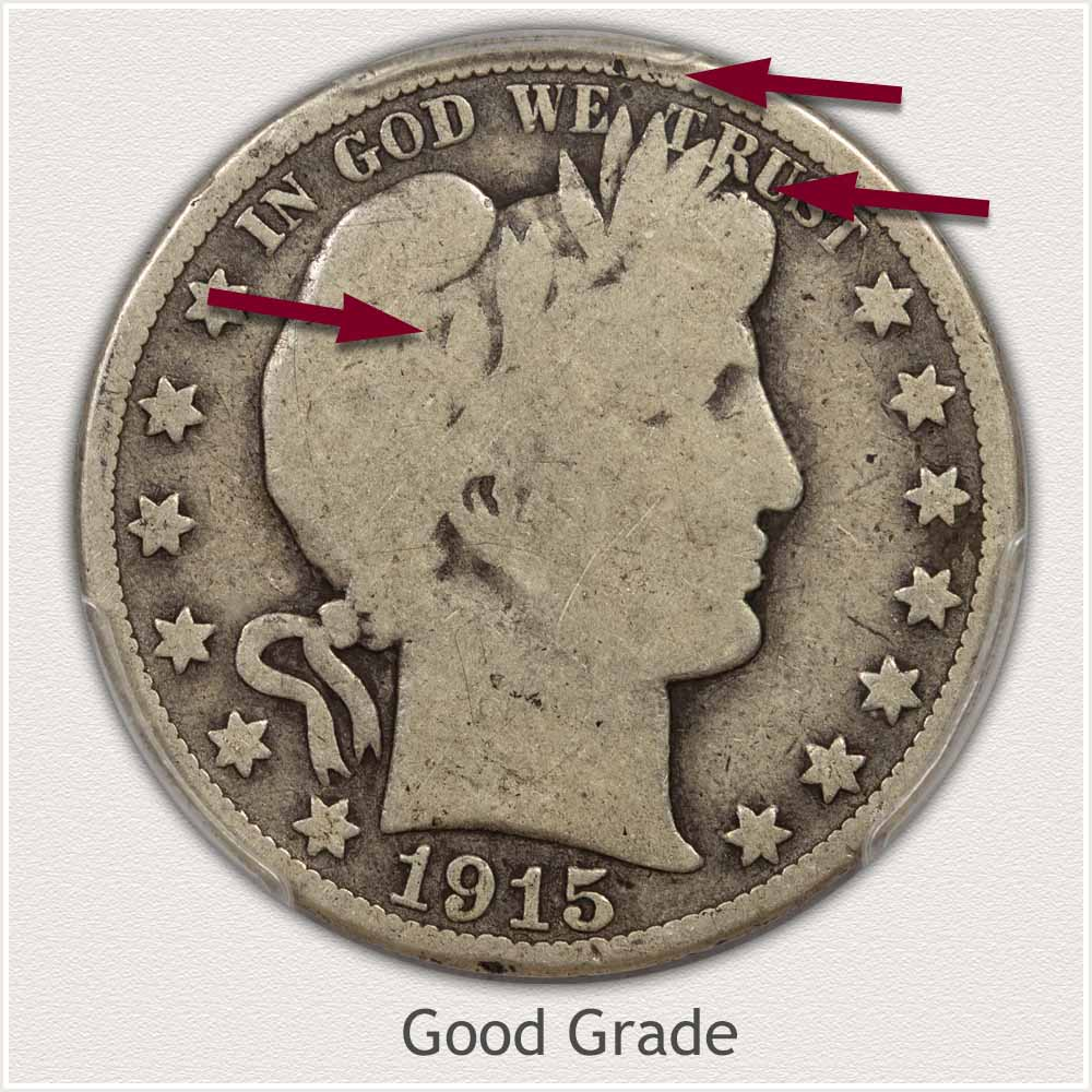 Obverse View: Good Grade Barber Half Dollar