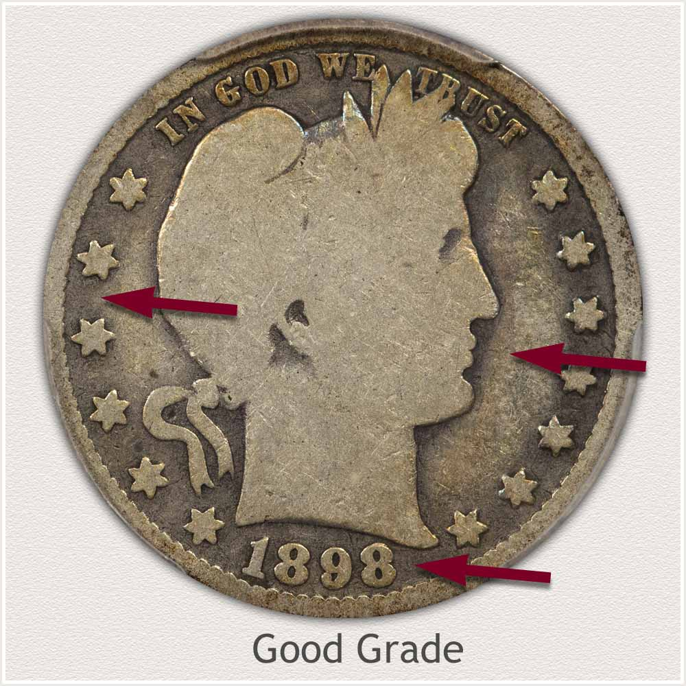 Obverse View: Good Grade Barber Quarter