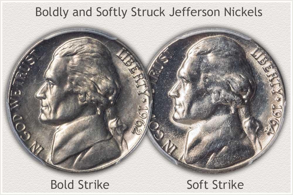 Bold and Soft Struck Jefferson Nickels