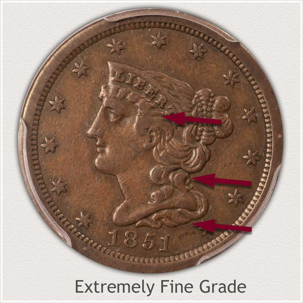 Obverse View: Extremely Fine Grade Braided Hair Half Cent