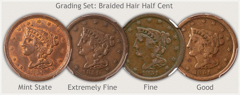 Grading Set of Braided Hair Half Cents