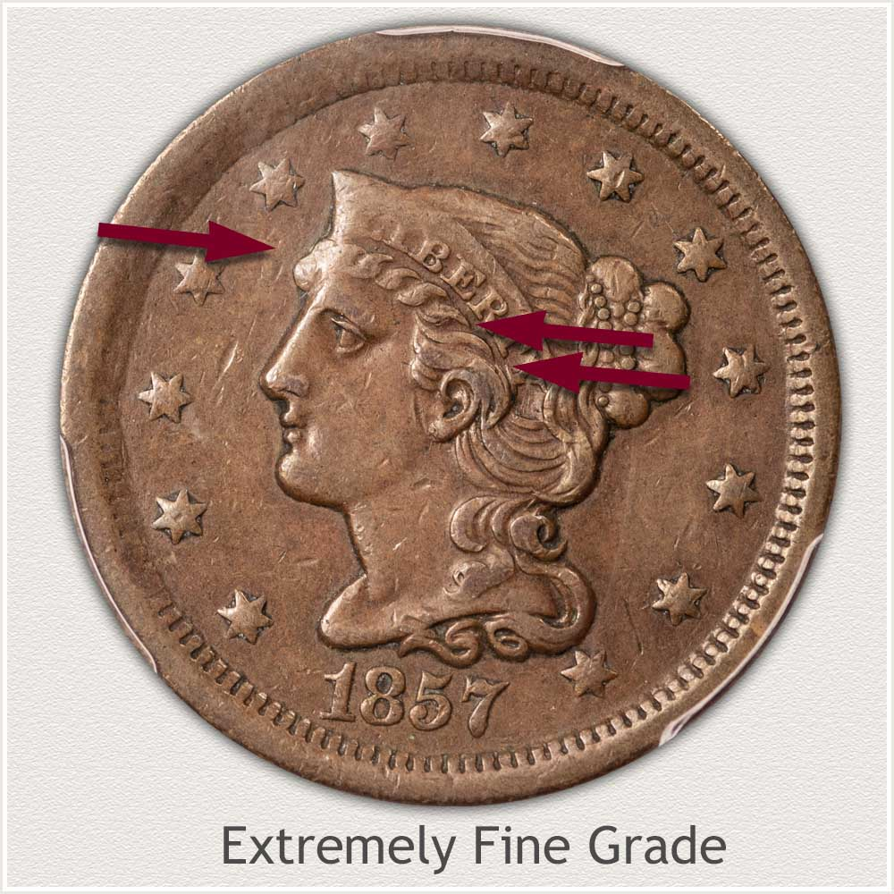 Obverse View: Braided Hair Large Cent in Extremely Fine Grade