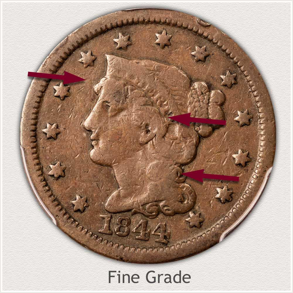 Obverse View: Braided Hair Large Cent in Fine Grade