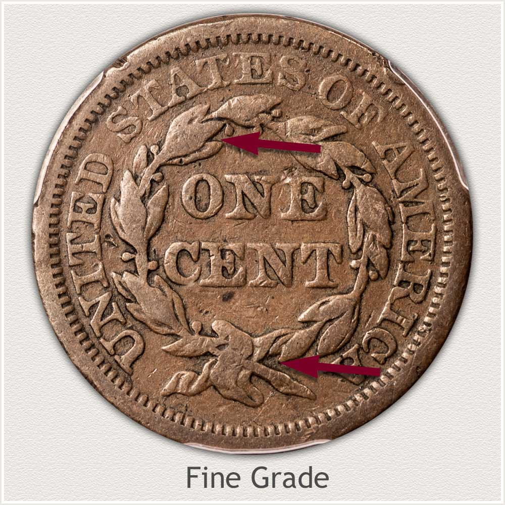 Reverse View: Braided Hair Large Cent in Fine Grade