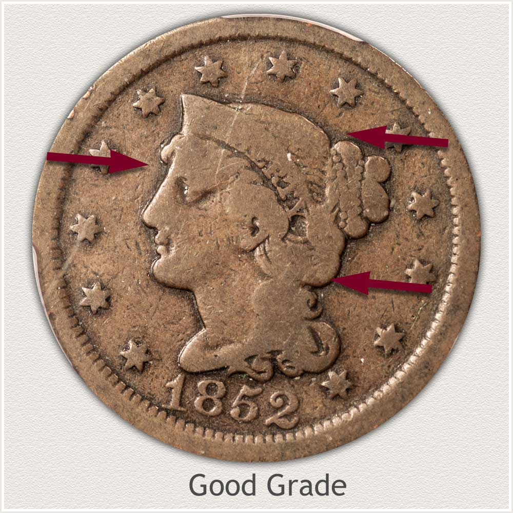 Obverse View: Braided Hair Large Cent in Good Grade