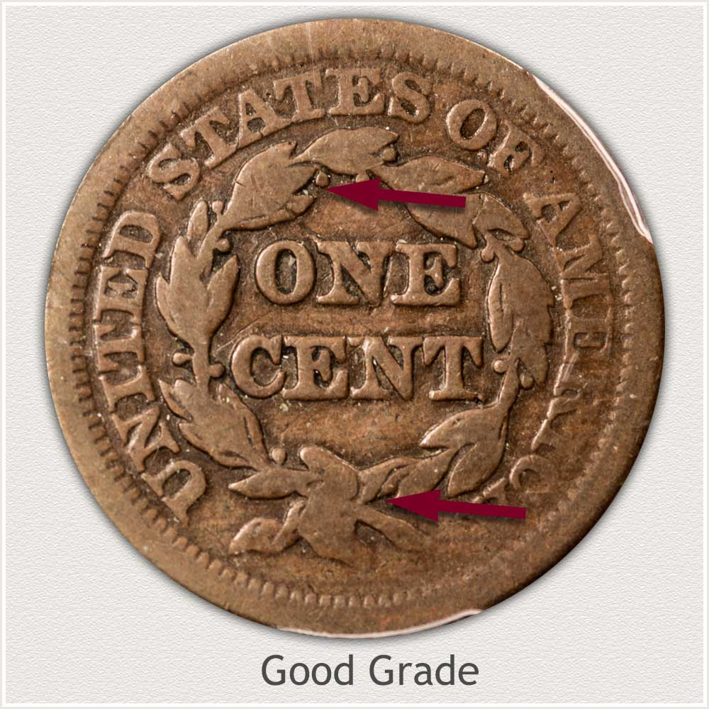 Reverse View: Braided Hair Large Cent in Good Grade