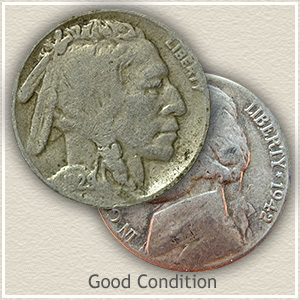 Buffalo and Jefferson Nickel Good Condition