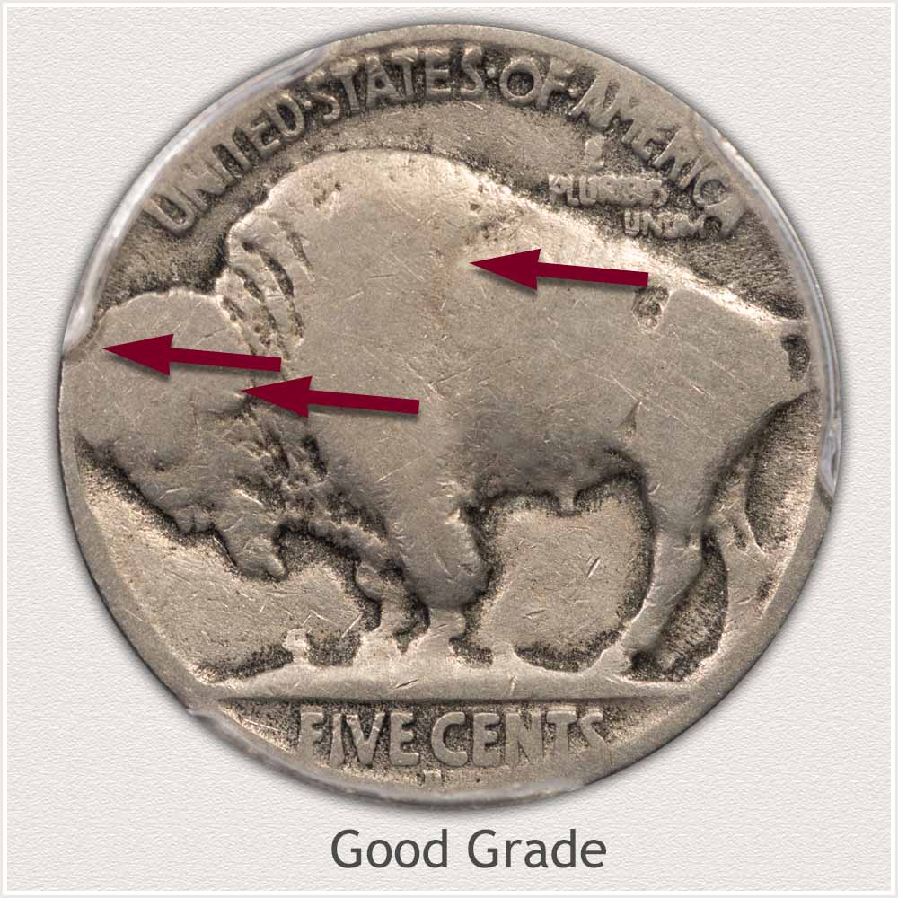 Reverse View: Good Grade Buffalo Nickel
