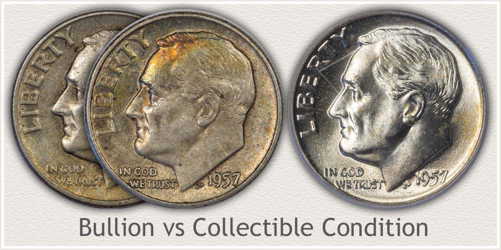 Mint State Example and Worn Example Roosevelt Dime