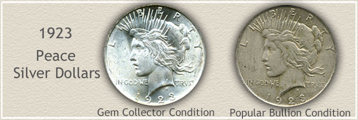 Compare Bullion Quality to Gem Quality 1923 Peace Dollars