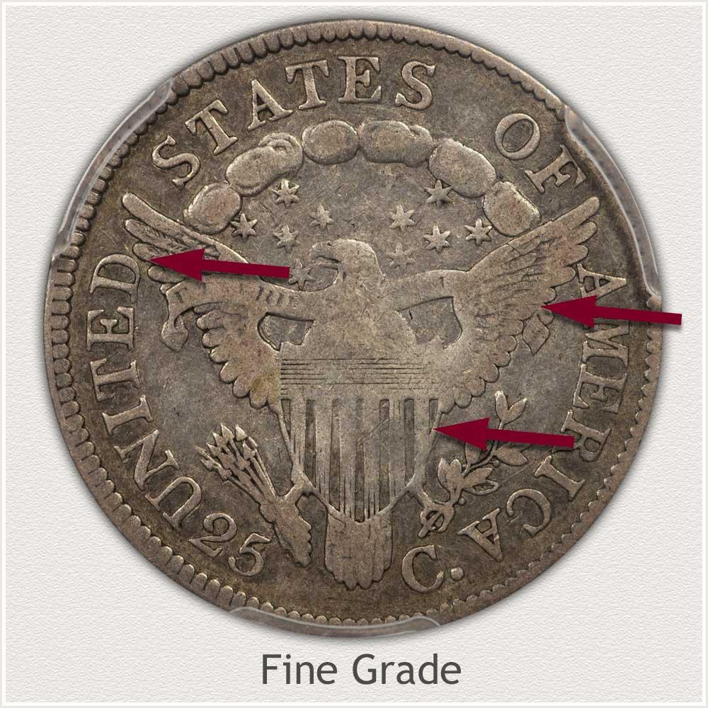 Reverse View: Fine Grade Bust Quarter
