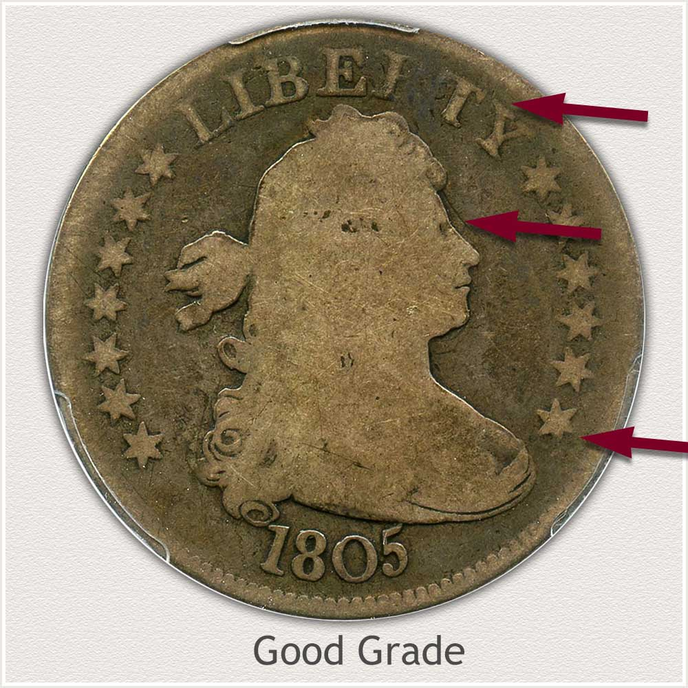 Obverse View: Good Grade Bust Quarter