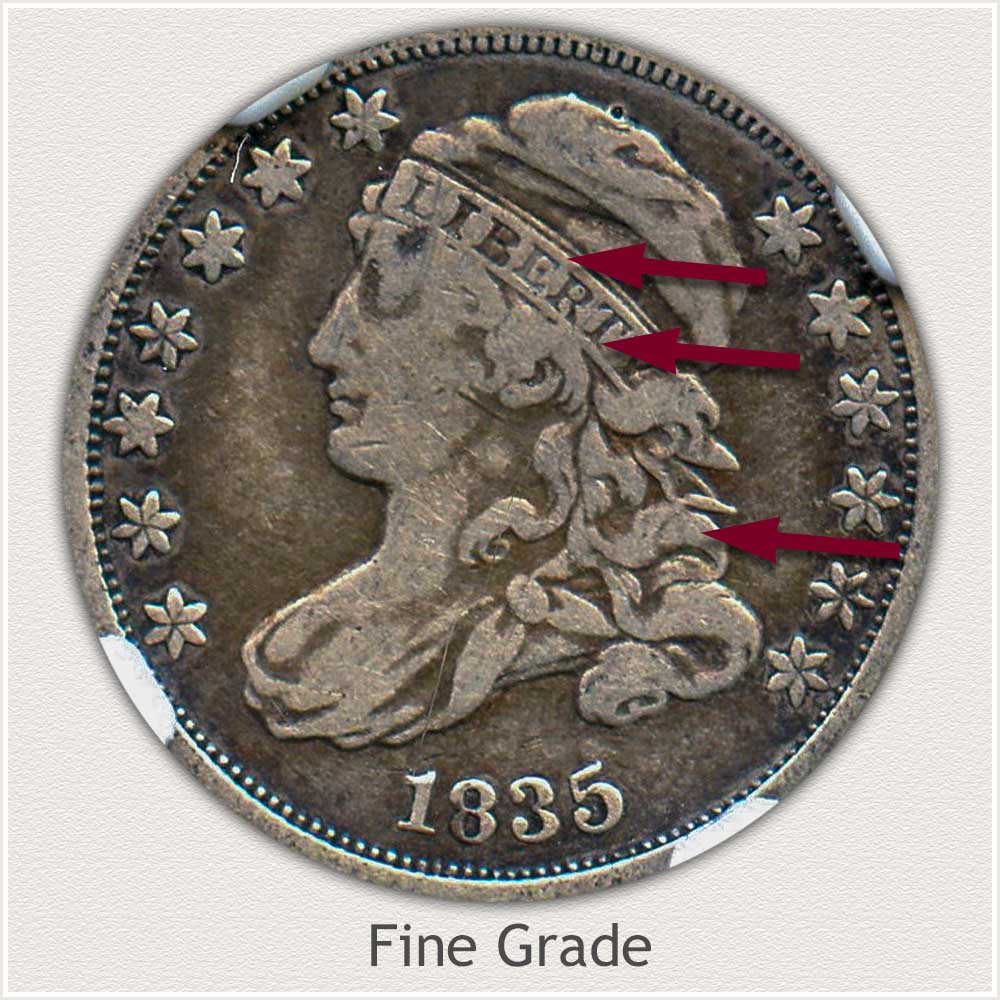 Obverse View: Fine Grade Capped Bust Dime