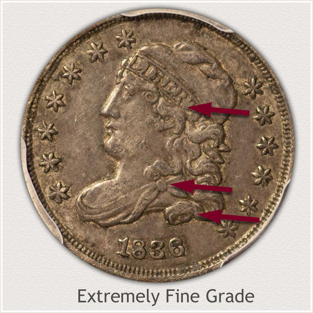 Obverse View: Extremely Fine Grade Capped Bust Half Dime