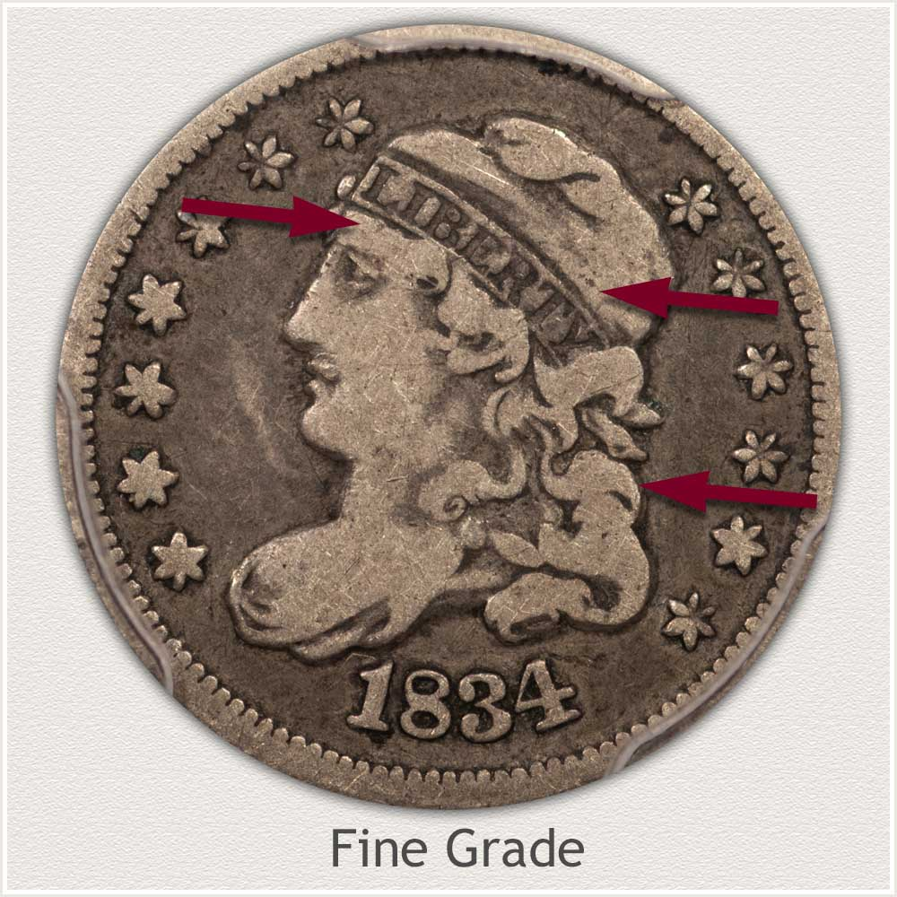 Obverse View: Fine Grade Capped Bust Half Dime