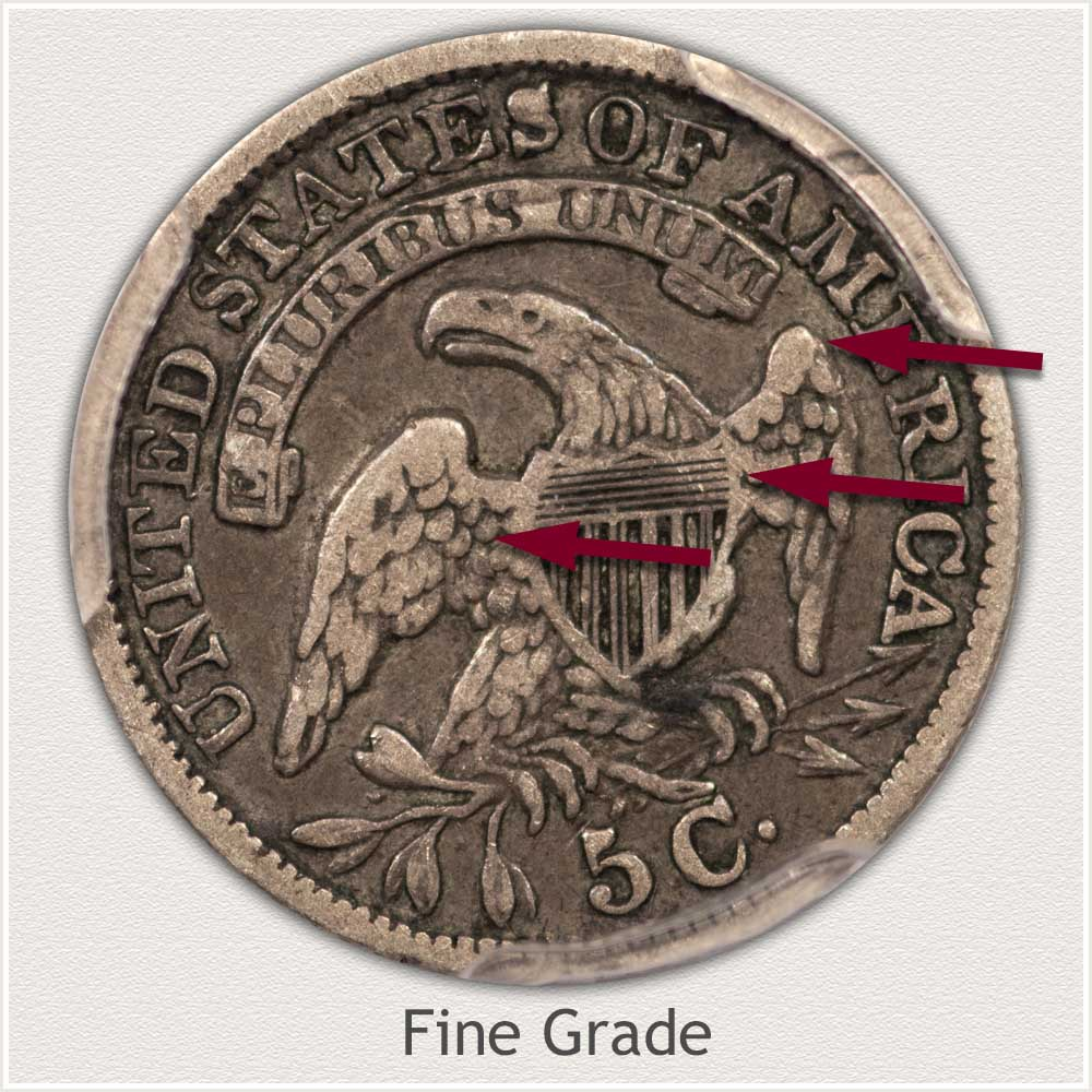 Reverse View: Fine Grade Capped Bust Half Dime