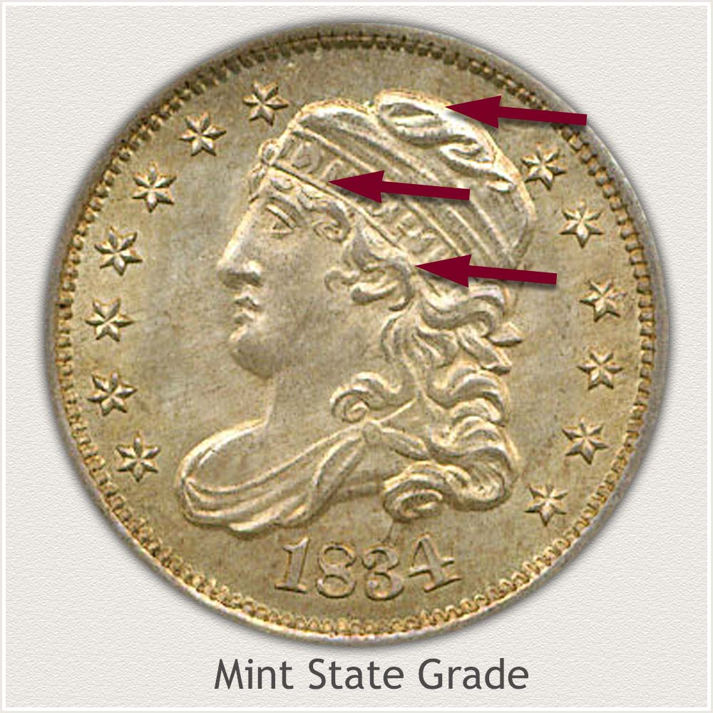 Obverse View: Mint State Grade Capped Bust Half Dime