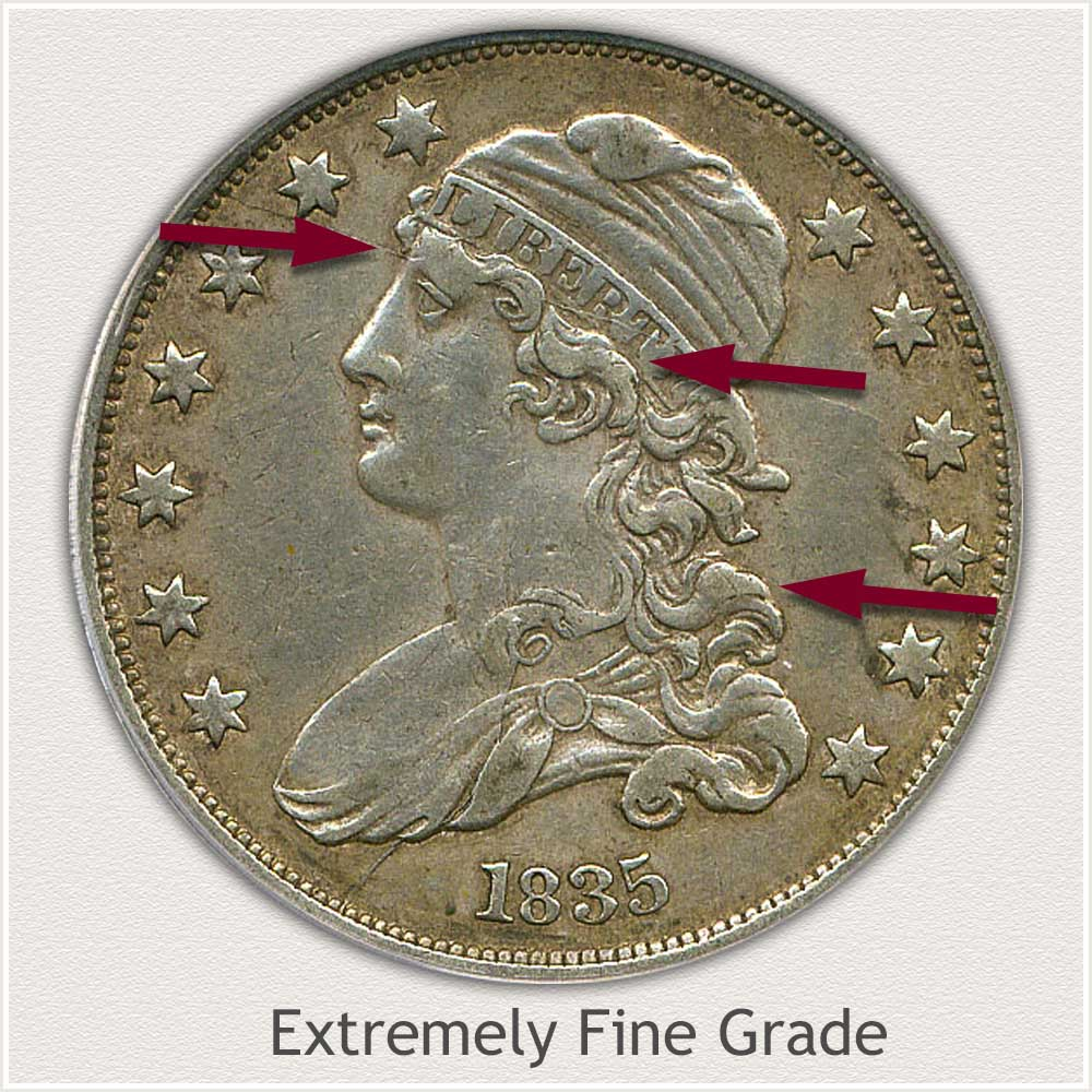 Obverse View: Extremely Fine Grade Capped Bust Quarter Small Diameter