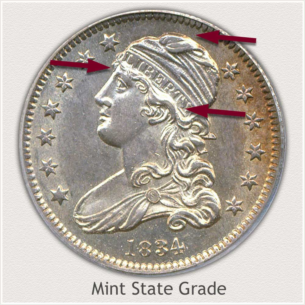 Obverse View: Mint State Grade Capped Bust Quarter Small Diameter