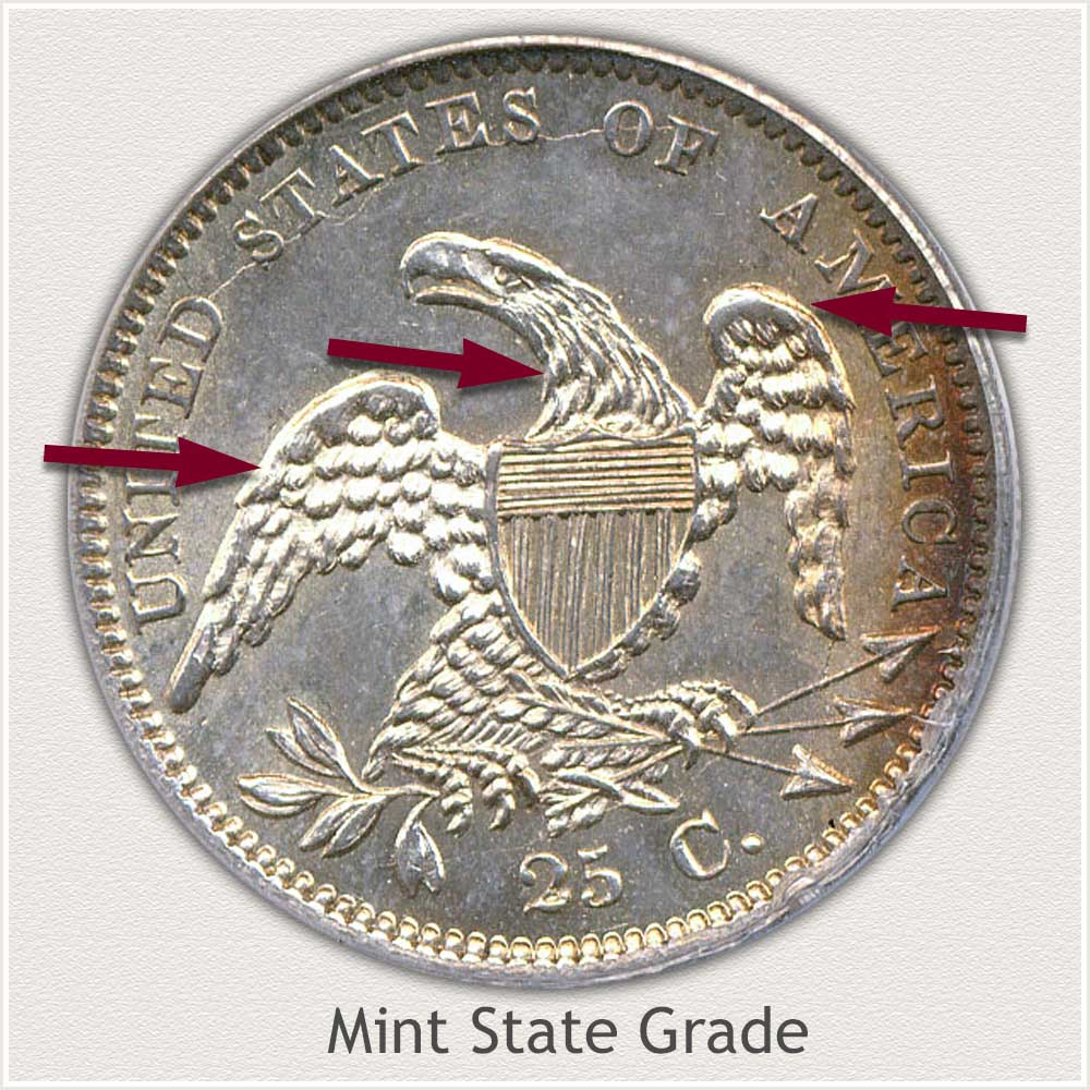 Reverse View: Mint State Grade Capped Bust Quarter Small Diameter