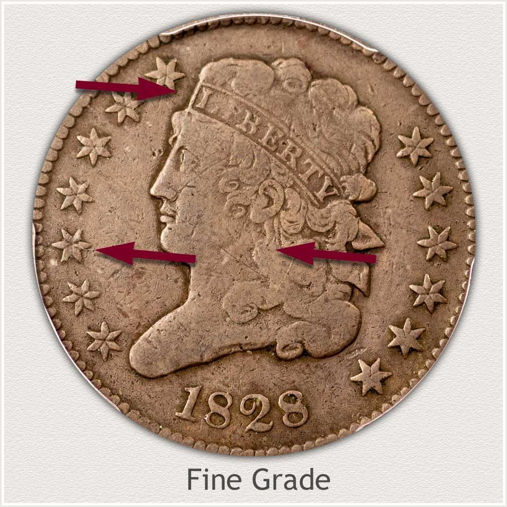 Obverse View: Fine Grade Classic Head Half Cent