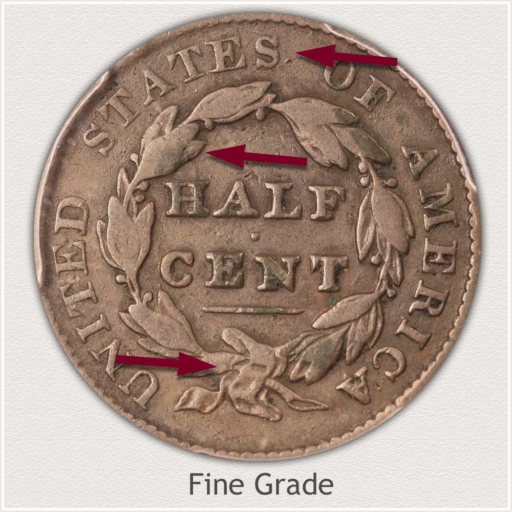 Reverse View: Fine Grade Classic Head Half Cent