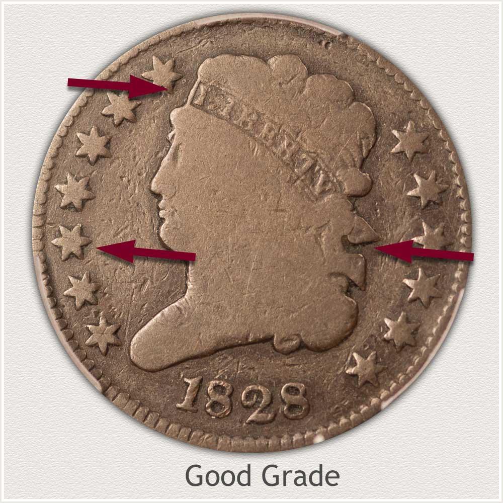 Obverse View: Good Grade Classic Head Half Cent