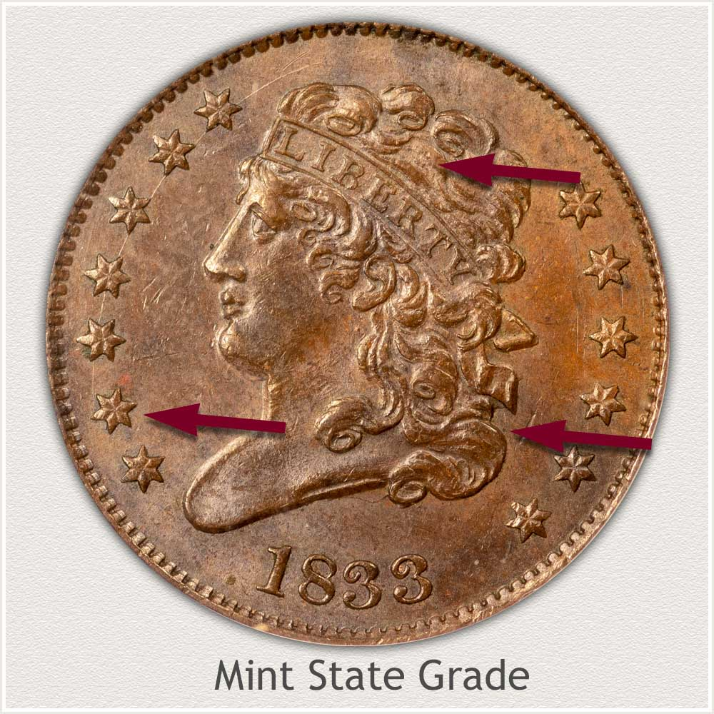 Obverse View: Mint State Grade Classic Head Half Cent