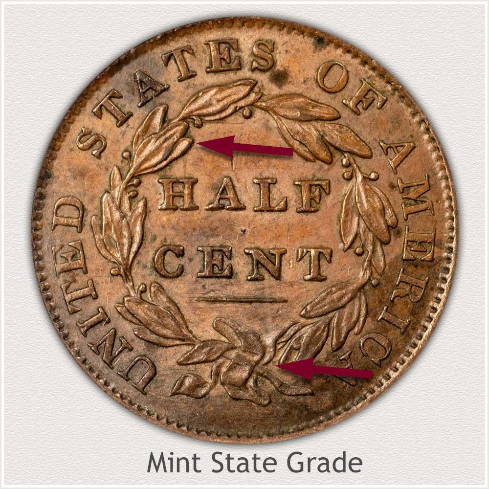 Reverse View: Mint State Grade Classic Head Half Cent