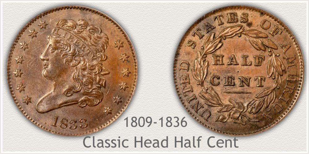 Classic Head half Cents Minted 1809 to 1836