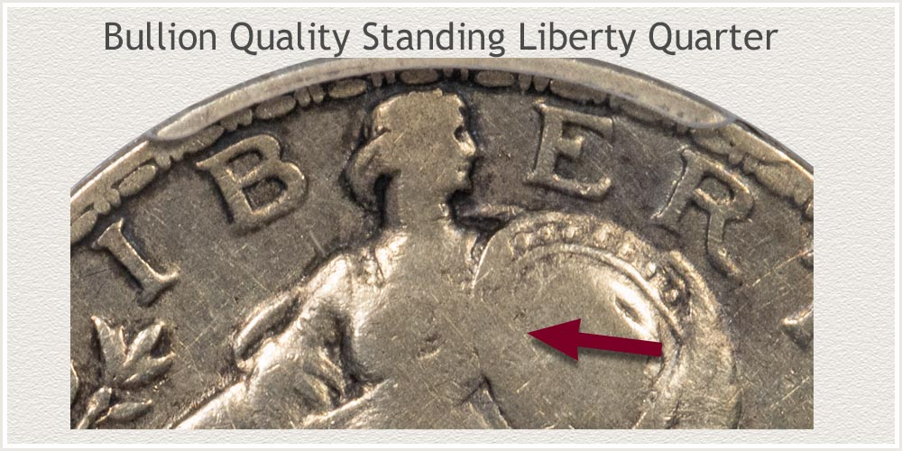Close-Up View of Bullion Quality Standing Liberty Quarter