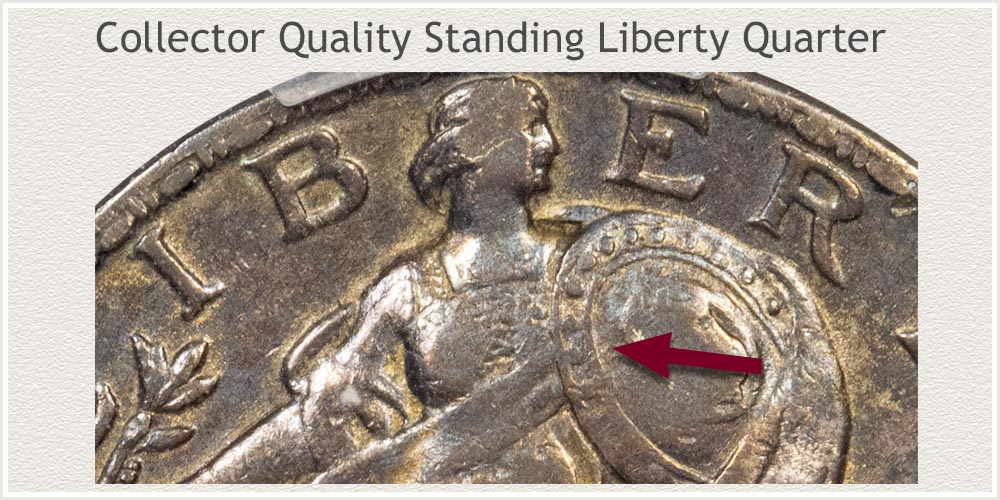 Close-Up View of Collector Quality Standing Liberty Quarter