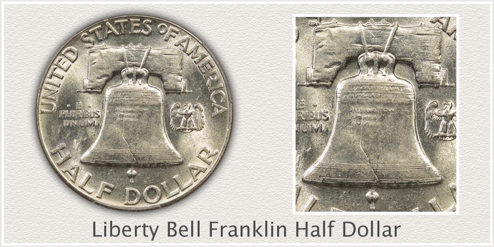 Close-Up Liberty Bell Reverse Franklin Half Dollar